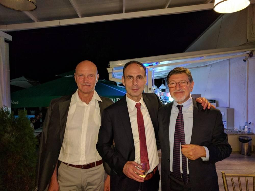 Roberto Lupo con Mauro Cesari e Atanas Kirov al 70 compleanno di Dimko Mitrev